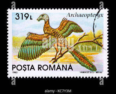 Postage stamp from Romania depicting an archaeopteryx - Stock Photo