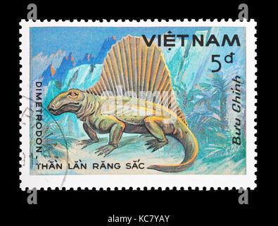 Postage stamp from Vietnam depicting a dimetrodon - Stock Photo