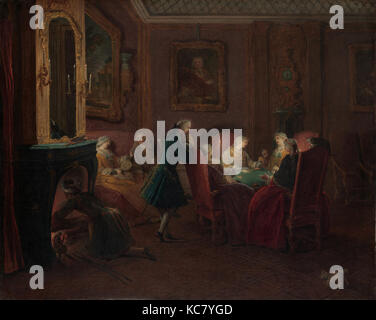 Card Players in a Drawing Room, Pierre Louis Dumesnil the Younger - Stock Photo