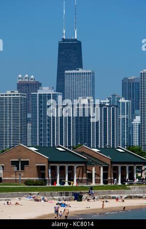 12th Street Beach and city skyline Chicago USA - Stock Photo