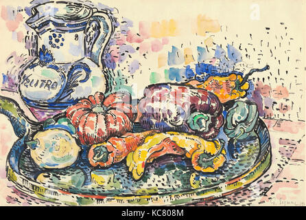 Still Life with Jug, 1919, Graphite and watercolor, 11 7/8 x 17 5/8 in. (30.2 x 44.8 cm), Drawings, Paul Signac - Stock Photo