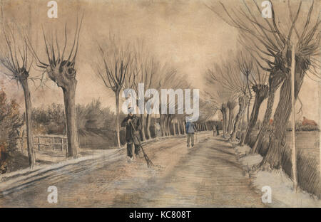 Road in Etten, 1881, Chalk, pencil, pastel, watercolor. Underdrawing in pen and brown ink., 15 1/2 x 22 3/4 in. - Stock Photo