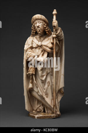 Saint James the Greater, 1489–93, Made in Burgos, Castile-León, Spain, Spanish, Alabaster with paint and gilding, - Stock Photo