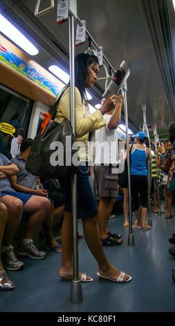 Singapore MRT underground subway train - Stock Photo