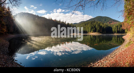 gorgeous foggy morning on the mountain lake. beautiful moment of sun rays path through forest and fog. lovely panoramic - Stock Photo