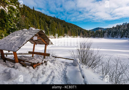 wooden bower in snowy winter spruce forest. beautiful mountainous landscape near snow covered frozen lake Synevyr - Stock Photo