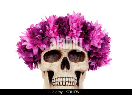 Skull with a wreath of pink flower isolated on a black background skull with a wreath of pink flower isolated on a white background stock photo mightylinksfo