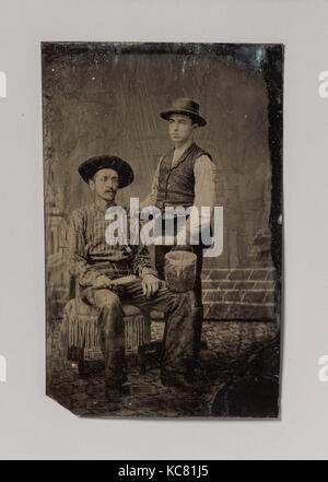 Two Painters, One Seated and One Standing, with Brushes and a Bucket, Unknown, 1860s–80s - Stock Photo