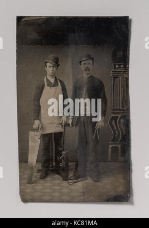 Two Carpenters with a Handsaw, Wood Plane, Hammer, Compass, and Square, Unknown, 1880s - Stock Photo