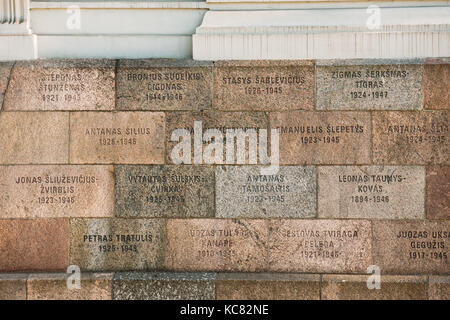 Vilnius, Lithuania - July 7, 2016: Inscriptions Of Names On Wall Of Museum Of Genocide Victims Located In Former - Stock Photo