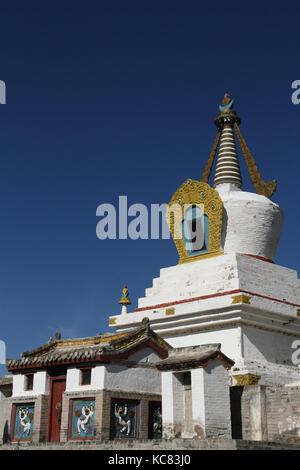 White stupa in Erdene Zuu Monastery, Kharkorin, Mongolia - Stock Photo