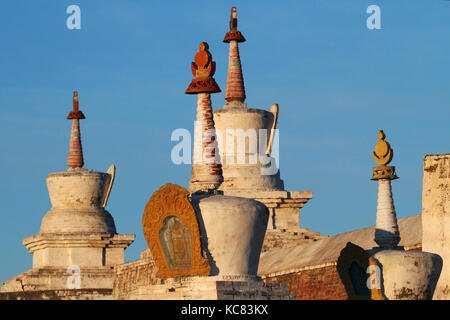 White stupas of Erdene Zuu in light of dawn - Stock Photo