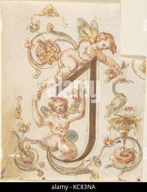 Decorative Letter 'I' with Putti (Embroidery Design?), Anonymous, Italian, 16th century - Stock Photo