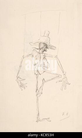Study of Patin (recto); Sketch of an Open Book, 'Compendium Maleficarum' (verso), Félicien Rops - Stock Photo