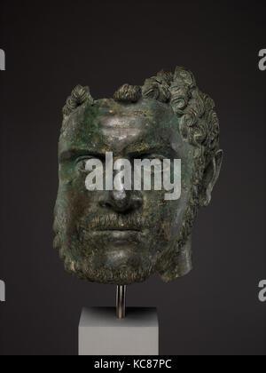 Fragmentary bronze portrait of the emperor Caracalla, ca. A.D. 212–217 - Stock Photo