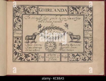 Ghirlanda: Di sei vaghi fiori scielti da piu famosi Giardini d'Italia, title page (recto), October 1, 1604 - Stock Photo