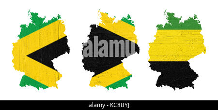 Maps of Germany in wooden plates painted with the colors of Jamaica (black, green and yellow), illustrative of the - Stock Photo
