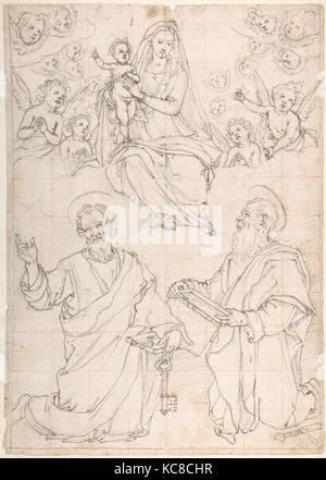 Virgin and Child Appearing in a Glory of Angels to Saint Peter and Saint Paul, Jacopo da Empoli, 1551–1640 - Stock Photo