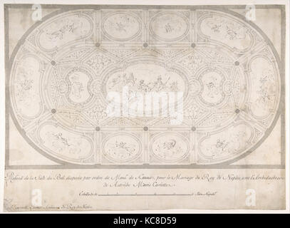 Ceiling of Ballroom decorated for the Marriage of the King of Naples to the Archduchess of Austria, Luigi Vanvitelli, - Stock Photo