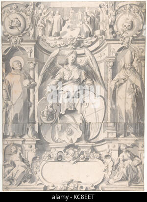 Design for a Stained Glass Window or  Frontispiece with the Arms of a Cleric, Johann Heiss, mid-17th–early 18th - Stock Photo