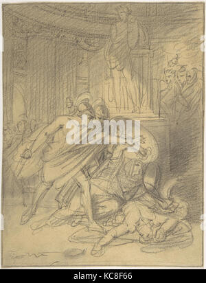 Two Warriors in Classical Costume Bending over Two Figures, Heinrich Friedrich Füger, mid-18th–early 19th century - Stock Photo