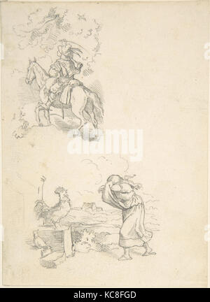 Two Designs for Illustration, Adrian Ludwig Richter, 1820–84 - Stock Photo