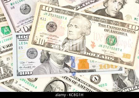 Dollar Bills, Notes US currency Dollars - Stock Photo