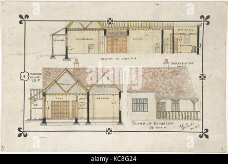 Bungalow Drawing Western Elevation And Interior Ernest Geldart Late 19th Early