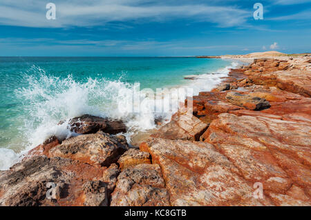 Waves breaking at Cape Leveque on Dampier Peninsula. - Stock Photo