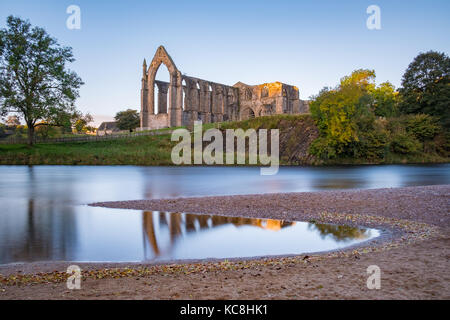 A lovely Autumn morning at the wonderful Bolton Abbey Priory in North Yorkshire - Stock Photo