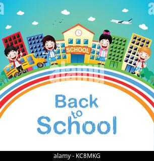 Cute Little Children Standing in Front of School with Buildings and School Bus Going to School. Vector Illustration. - Stock Photo