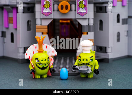 Tambov, Russian Federation - July 20, 2016  LEGO The Angry Birds Movie. Lego King Pig, Chef Pig with pan and blue - Stock Photo