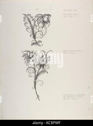 Floral Tailpiece Designs, The Duchess of Malfi and The White Devil, Henry Weston Keen, ca. 1930 - Stock Photo