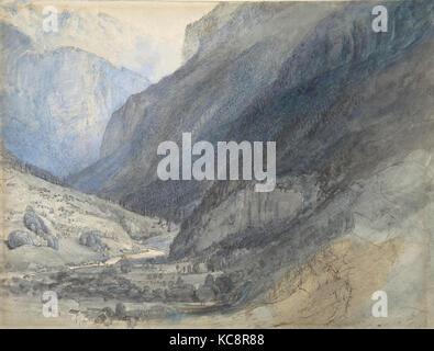 The Valley of Lauterbrunnen, Switzerland, John Ruskin, ca. 1866 - Stock Photo