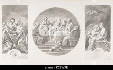 The Mystic Marriage of Saint Catherine; Saint Celestine V Renouncing the Papacy; Saint Catherine Touched by Divine - Stock Photo