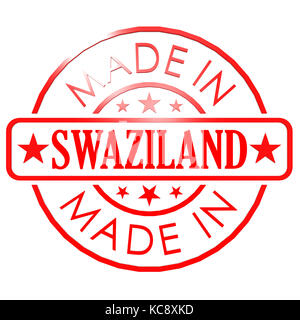 Made in Swaziland red seal image with hi-res rendered artwork that could be used for any graphic design. - Stock Photo