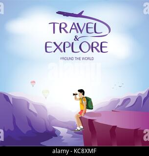 Travel and Explore Around The World with Man Traveler Sitting on The Cliff. Vector Illustration - Stock Photo