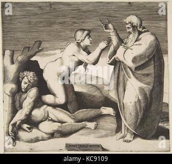The creation of Eve who emerges from behind Adam, Giulio Bonasone, ca. 1530–70 - Stock Photo