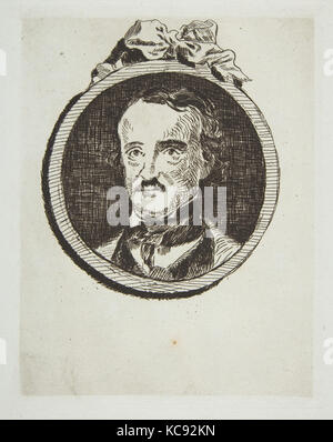 Portrait of Edgar Allan Poe, 1876, Etching on blue laid paper, from 1905 Strölin edition, plate: 7 1/4 x 5 3/4in. - Stock Photo