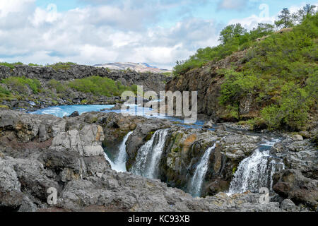Barnafoss waterfall - Western Iceland - Stock Photo