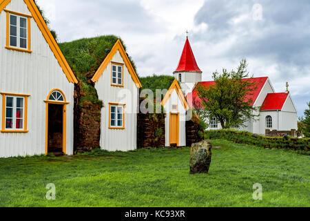 Traditional turf houses in Glaumbaer - Iceland - Stock Photo