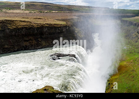 Gullfoss waterfall - Southwest Iceland - Stock Photo