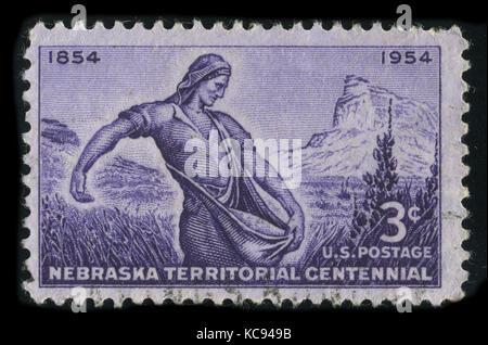 USA - CIRCA 1954: A stamp printed in USA shows image of the dedicated to the Nebraska Territorial Centennial circa - Stock Photo