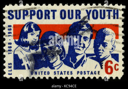 USA - CIRCA 1968: A stamp printed in USA shows image of the dedicated to the Support Our Youth, Elks 1868 - 1968, - Stock Photo