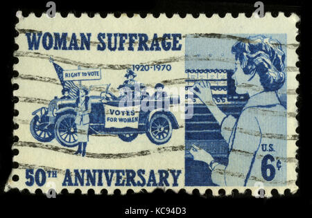 USA - CIRCA 1970: A stamp printed in USA shows image of the dedicated to the Woman Suffrage circa 1970. - Stock Photo