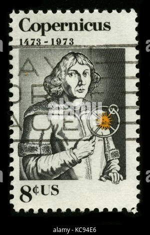 USA - CIRCA 1973: A stamp printed in USA shows image portrait Nicolaus Copernicus (19 February 1473 – 24 May 1543) - Stock Photo