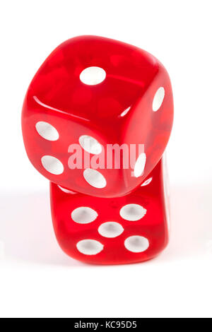Isolated red casino dice on white ackground - Stock Photo