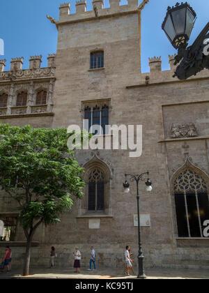 Exterior street level view of La Lonja de la Seda (La Llotja de la Seda) building, Valencia, Spain, Europe. La Lonja - Stock Photo