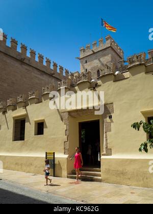 Entrance to La Lonja de la Seda (La Llotja de la Seda) building, Valencia, Spain, Europe. - Stock Photo