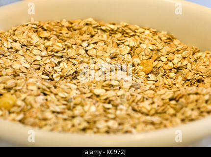 Oat flakes in the white ceramic bowl - Stock Photo